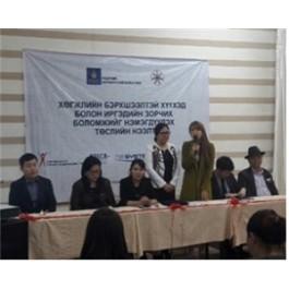 장애아동 및 장애인 편의증진 사업에서 발표를 진행중인 참여자의 모습